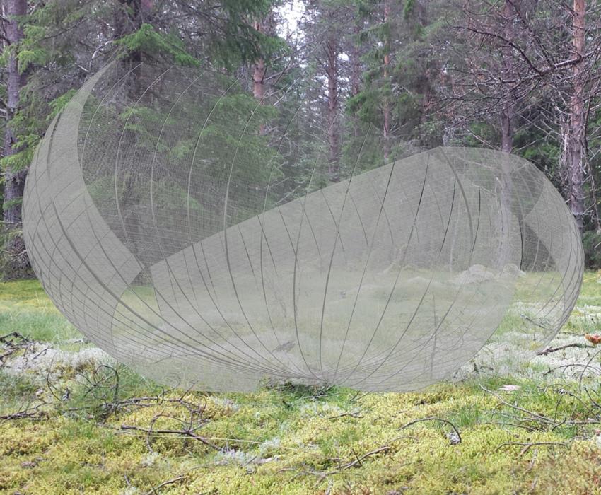 kunstwerk;installatie;shelter;schil;Peter Korn;Zweden; landschapskunst